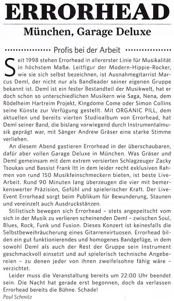 Errorhead Concert Review in Classic Rock Magazin